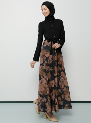 Black - Floral - Multi - Polo neck - Unlined - Dress - Tavin
