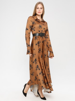 Brown - Multi - Point Collar - Unlined - Dress