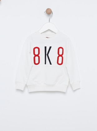 Crew neck -  - Unlined - White - Boys` Sweatshirt
