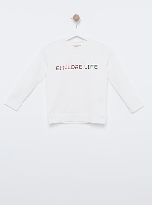 Polo neck -  - Unlined - White - Boys` Sweatshirt