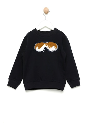 Crew neck -  - Unlined - Navy Blue - Boys` Sweatshirt