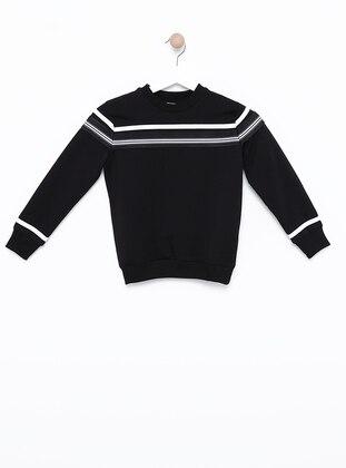 Crew neck -  - Unlined - Black - Boys` Sweatshirt