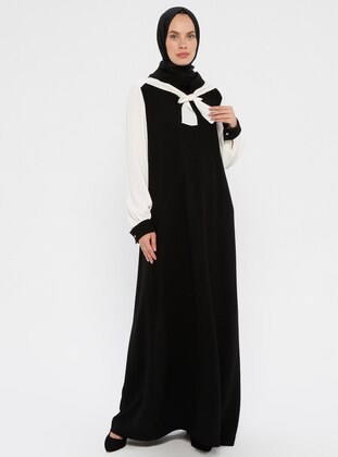 White - Black - Crew neck - Unlined - Dress