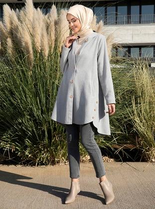 Gray - Gray - Unlined - V neck Collar - Acrylic -  - Coat - Tavin