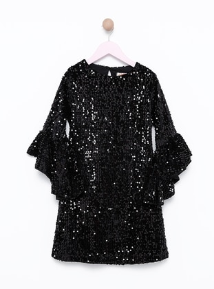 Crew neck -  - Fully Lined - Black - Girls` Dress