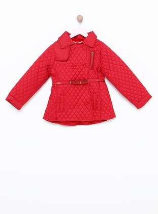 Crew neck -  - Unlined - Red - Girls` Cardigan - incity