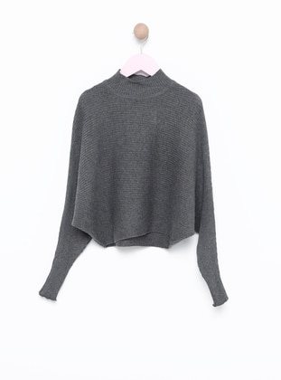 Polo neck -  - Unlined - Gray - Girls` Pullovers
