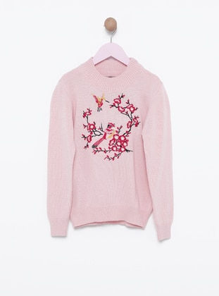 Polo neck -  - Unlined - Pink - Girls` Pullovers