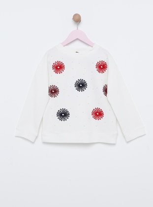 Polo neck -  - Unlined - White - Girls` Sweatshirt
