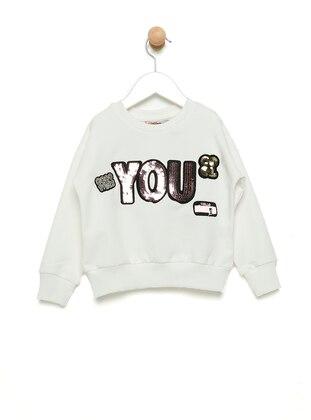 Crew neck -  - Unlined - White - Girls` Sweatshirt