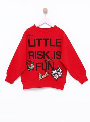 Polo neck -  - Unlined - Red - Girls` Sweatshirt