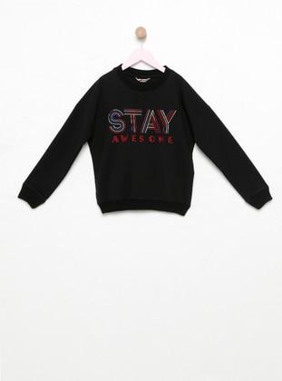Crew neck -  - Unlined - Black - Girls` Sweatshirt