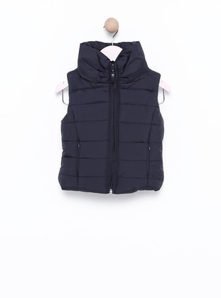 Polo neck -  - Unlined - Navy Blue - Girls` Vest