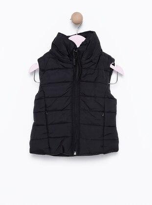 Polo neck -  - Unlined - Black - Girls` Vest - incity