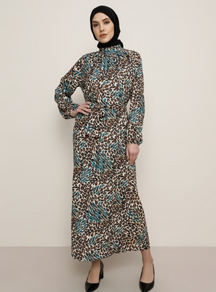 Leopard - Turquoise - Leopard - Polo neck - Unlined - Dress