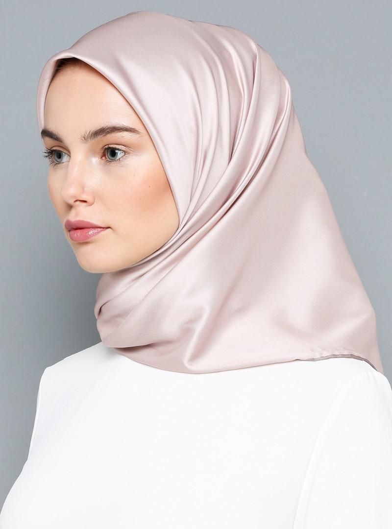 Tesettür %100 İpek Eşarp Armine Pudra Kadın Standart