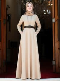 Camel - Unlined - Crew neck - Muslim Evening Dress