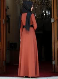 Terra Cotta - Unlined - Crew neck - Muslim Evening Dress