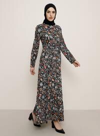 Siyah - Çok renkli - Fransız yaka - Astarsız kumaş - Elbise
