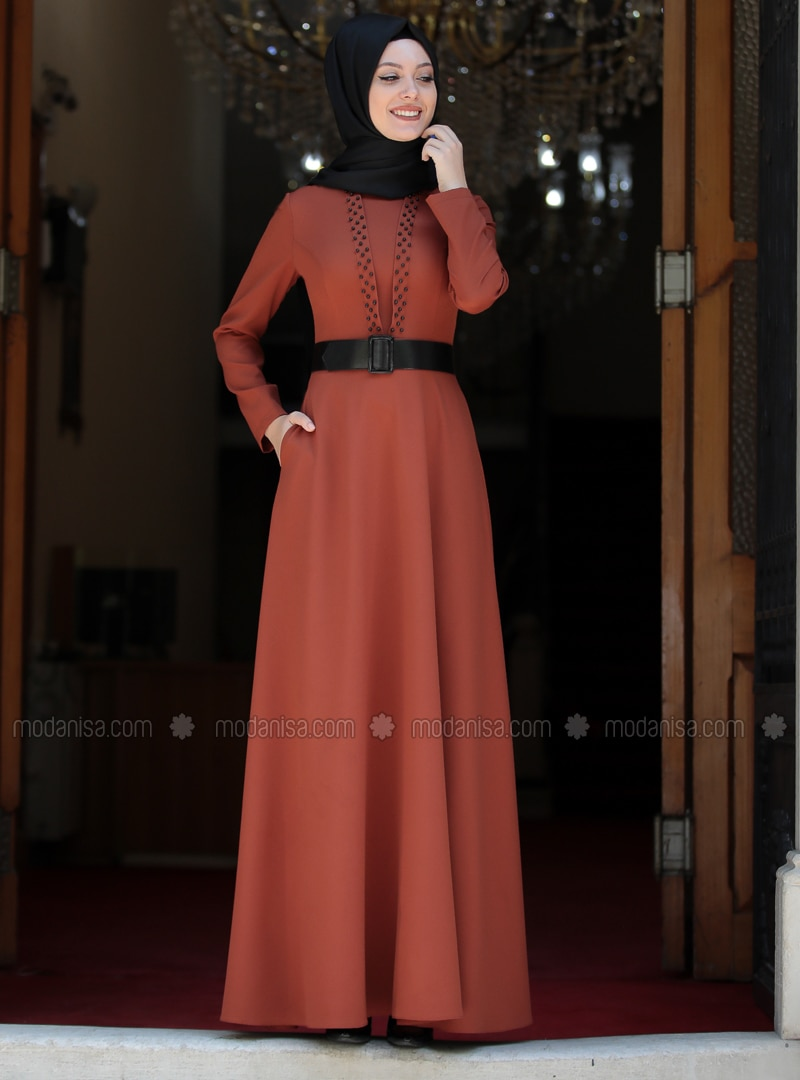 Terra Cotta - Unlined - Crew neck - Muslim Evening Dress