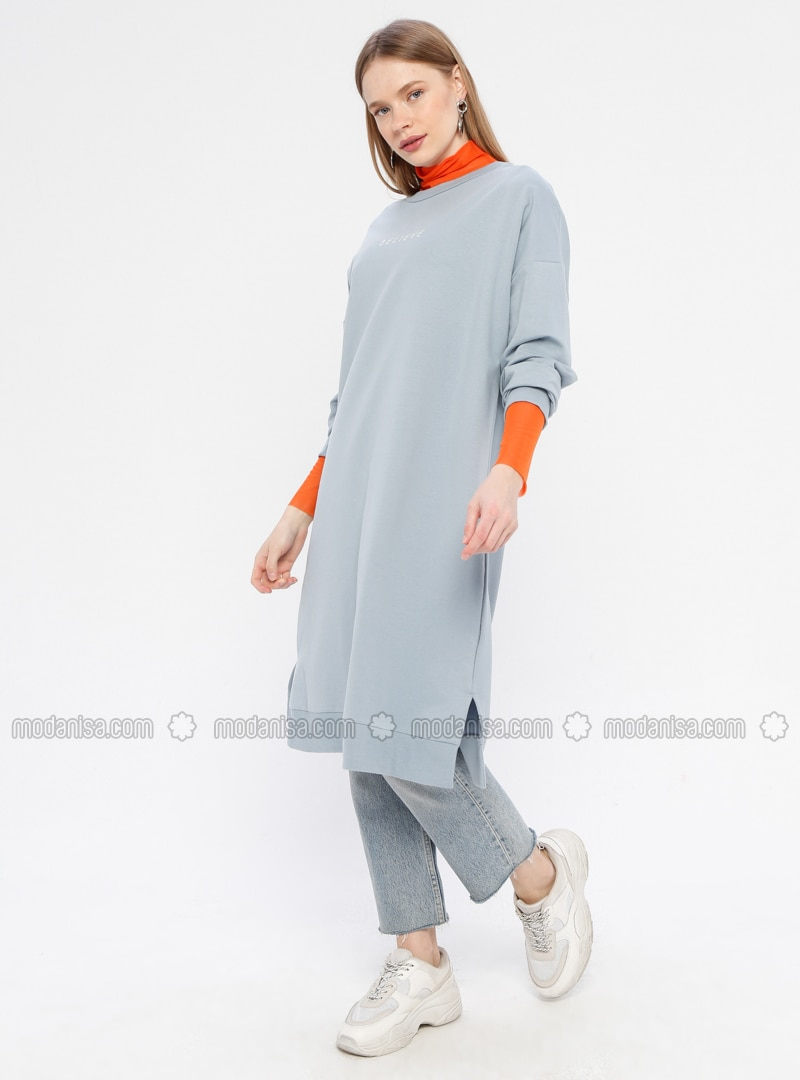 Blue - Crew neck -  - Tunic