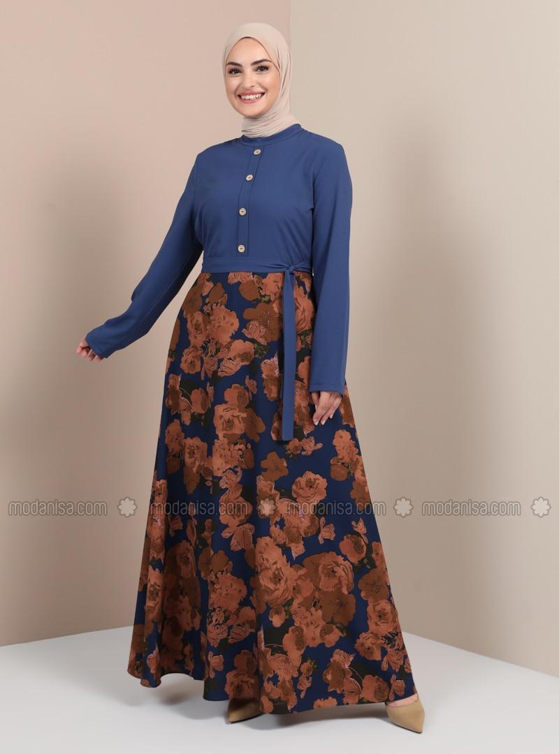Indigo - Floral - Multi - Polo neck - Unlined - Dress