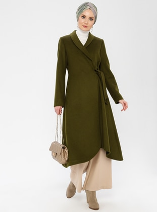 Khaki - Fully Lined - Shawl Collar - Wool Blend - Topcoat