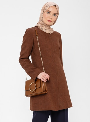 Cinnamon - Fully Lined - Crew neck - Viscose - Jacket