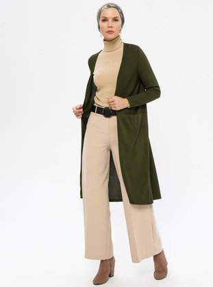 Khaki - Viscose - Cardigan