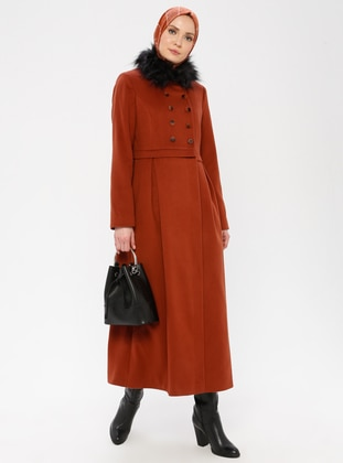 Terra Cotta - Fully Lined - Crew neck - Viscose - Coat - TUĞBA