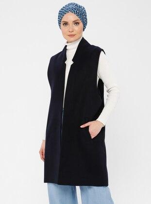 Navy Blue - Fully Lined - Viscose - Vest