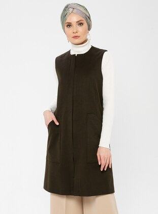 Brown - Fully Lined - Crew neck - Viscose - Vest