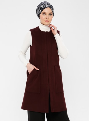Plum - Fully Lined - Crew neck - Viscose - Vest