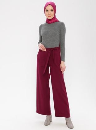 Fuchsia - Wool Blend - Pants