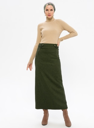 Khaki - Fully Lined - Viscose - Skirt