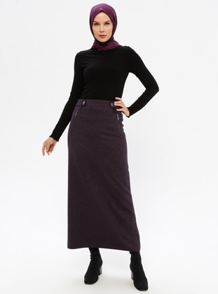 Plum - Fully Lined - Viscose - Skirt