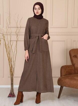 Brown - Unlined - Crew neck - Acrylic -  - Coat