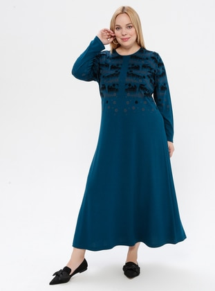 Petrol - Unlined - Crew neck - Plus Size Dress