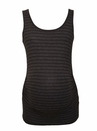 - Gray - Stripe - Maternity Singlet