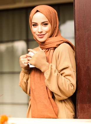 Cinnamon - Plain - Cotton - Shawl -  Şal