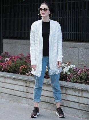 Ecru - Unlined - Acrylic -  - Jacket - Selma Sarı Design