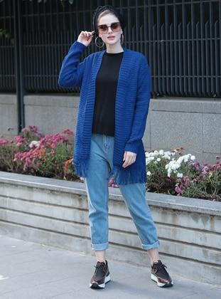 Blue - Unlined - Acrylic -  - Jacket - Selma Sarı Design