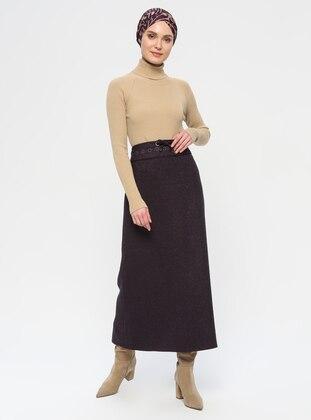 Plum - Fully Lined - Viscose - Skirt