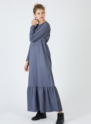 Gray - Crew neck - Unlined - Cotton - Dress