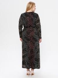 Multi - Powder - Multi - Unlined - Crew neck - Plus Size Dress