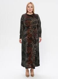 Tan - Multi - Unlined - Crew neck - Plus Size Dress