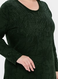 Khaki - Multi - Unlined - Crew neck - Plus Size Dress