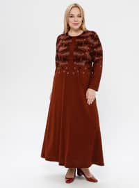 Tan - Unlined - Crew neck - Plus Size Dress