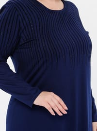 Indigo - Unlined - Crew neck - Viscose - Plus Size Dress