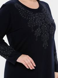 Navy Blue - Unlined - Crew neck - Viscose - Plus Size Dress